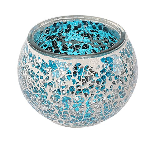 Marrakech Handmade Mosaic Glass Candle Holders with Tiny Mirror Shards Set of 2 (Blue)