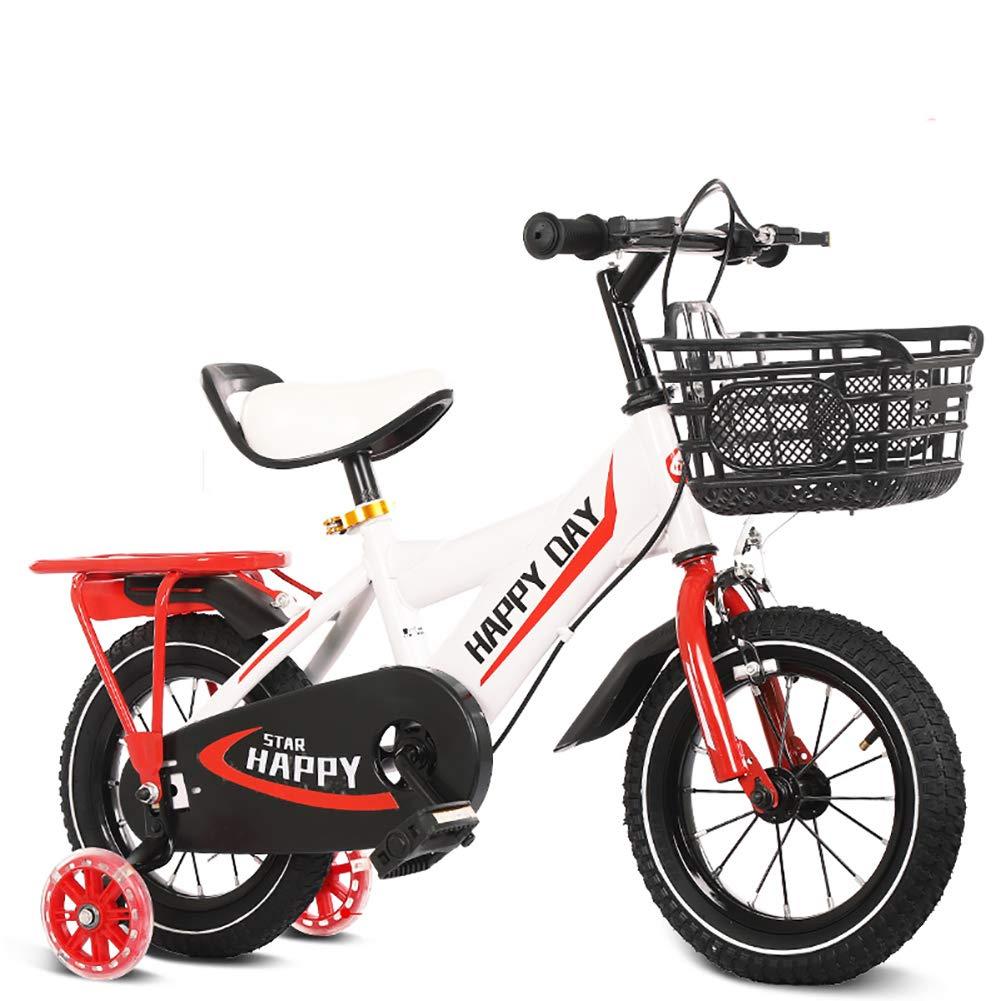 BAICHEN Biciclette per Bambini,Bicicletta per Bambini 14 12 16 18 Pollici con stabilizzatori,Adatto a Bambini di 2-9 Anni,bianca,14inches