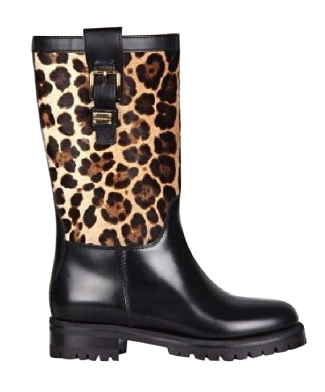 DOLCE & GABBANA Black Leopard Boots Size 6