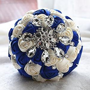 Multi Color Romantic Bride Wedding Holding Bouquet- Peal Diamond Ribbon Wedding Flower-Bridal Bouquet Flowers 119