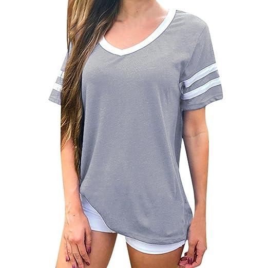 LILICAT® Camisas Sólidas para Mujer, 2018 Moda Casual Verano V Cuello Camisetas Casual Tops Holgados Blusa tee: Amazon.es: Deportes y aire libre