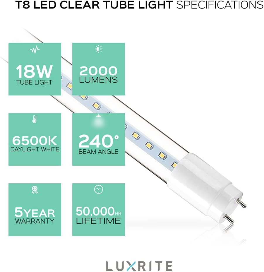 UL Listed G13 LED Base 32W Equivalent 1900 Lumens Clear Cover Direct Replacement 18W 3000K Soft White 4-Pack Luxrite 4FT T8 LED Tube Light