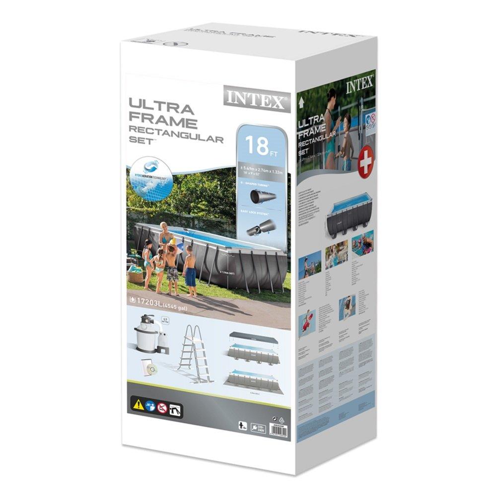 17.203 litros 549 x 274 x 132 cm Intex Ultra Frame Piscina Desmontable Gris