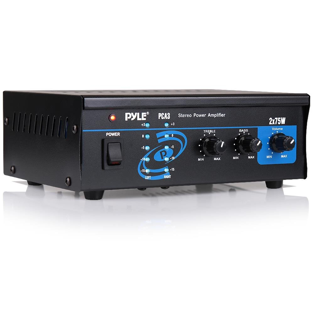 Home Audio Power Amplifier System - 2X75W Mini Dual Channel Sound Stereo Receiver Box w/ LED - For Amplified Speakers, CD Player, Theater via 3.5mm RCA - For Studio, Home Use - Pyle PCA3 by Pyle