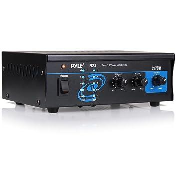 Pyle PCA3 2.0 Hogar Alámbrico Negro - Amplificador de Audio (2.0 Canales, 75 W