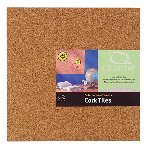 (Boone(R) Cork Wall Tiles, 12in. x 12in. x 1/4in., Natural, Pack Of 4)