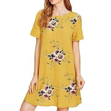 Vestido de verano para mujer – Saihui simple manga corta casual cuello redondo floral estampado suelto