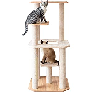 """Catry 50"""" Wooden Cat Tree Tower with Real Carpet Covered Activity Center for Multiple Cats Climbing Playing and Sleeping"""