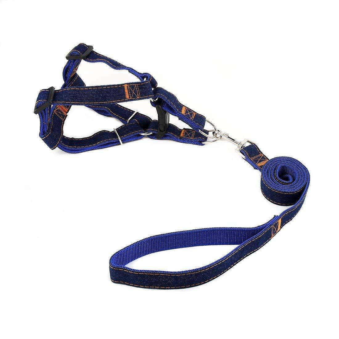 1Pc XL, bluee   Denim Pet Dog Picnic Running Adjustable Handle Leash Rope Chest Harness