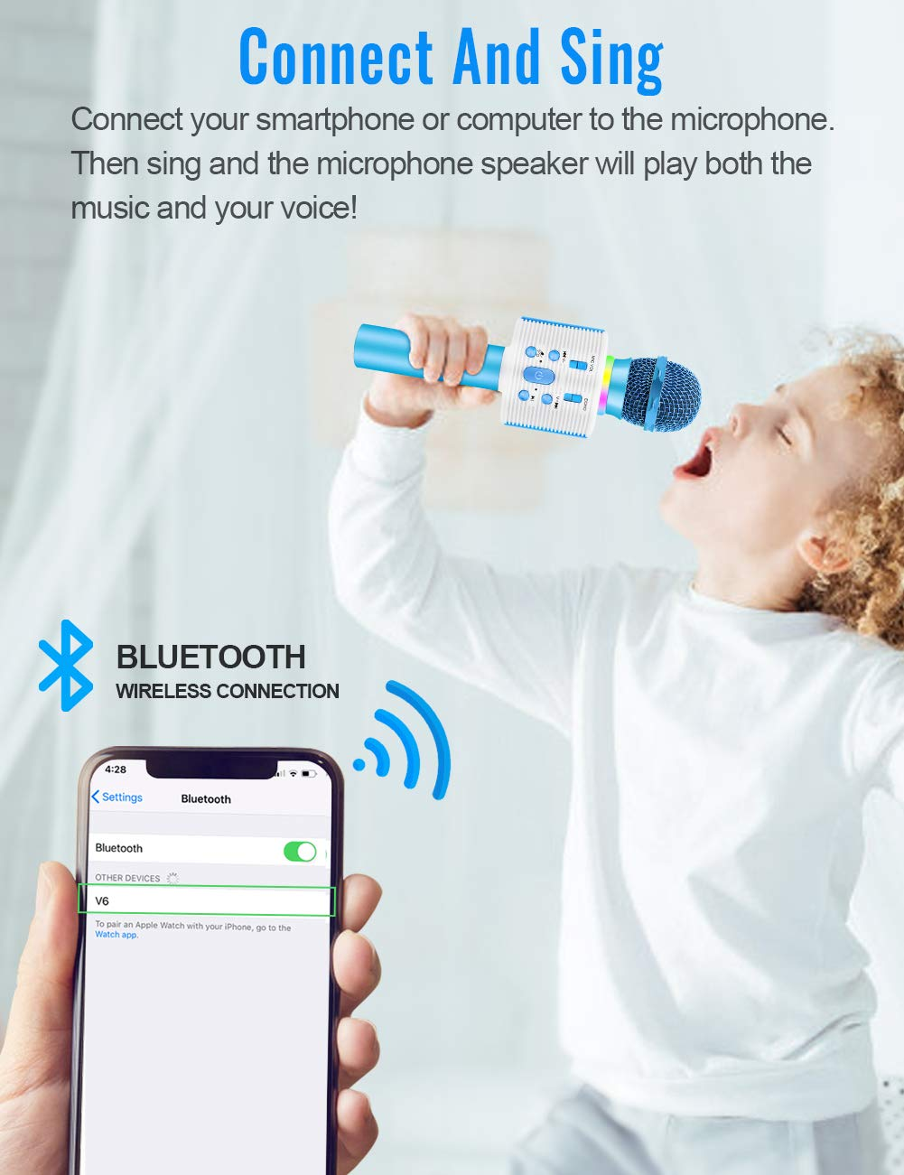 Wireless Karaoke Microphone with Speaker Pro, 3-in-1 Portable Handheld Karaoke Mic Home Party Birthday Gifts for Kids Speaker Machine for Android/ PC /phone(Blue) by weird tails (Image #2)