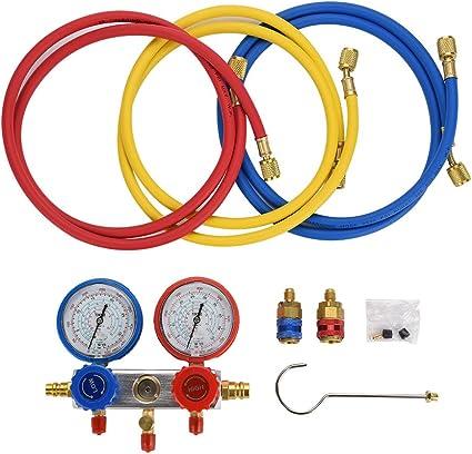 0~500Psi Aire acondicionado Refrigerante Diagn/óstico Fluorine Manifold Table Gauge Set