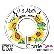 CarrieDee Handcrafted Baby Clothes Size Dividers, Girls Sunflower Nursery Closet Organizers, Baby Girl Floral Nursery Decor (Set of 6 (0-3m - 18-24m))