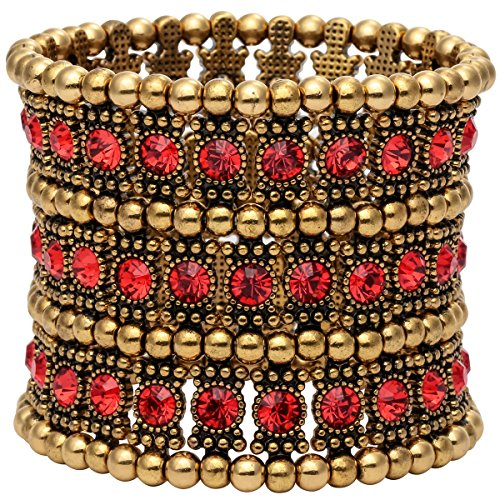 YACQ Women's Multilayer Crystal Stretch Bracelet 3 Row (red) -