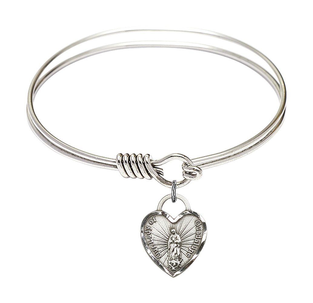 6 1/4 inch Round Eye Hook Bangle Bracelet w/Our Lady of Guadalupe Heart in Sterling Silver