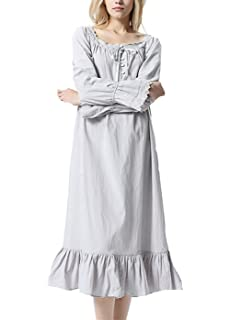 3a6d8def70 Lalander Womens White Cotton Nightdress Victorian Vintage Nightgown Long-Sleeve  Nightdress…