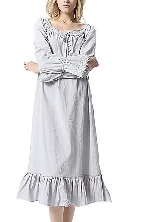 Lalander Womens White Cotton Nightdress Victorian Vintage Nightgown  Long-Sleeve Nightdress Pajamas Sleep Shirt 8ad783998b