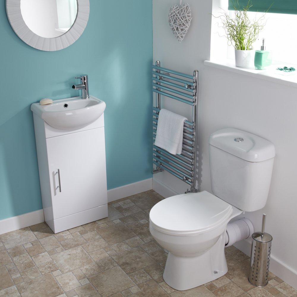 Trueshopping White Sienna Cloakroom Bathroom Suite Vanity Unit Basin Sink Toilet Tap Waste
