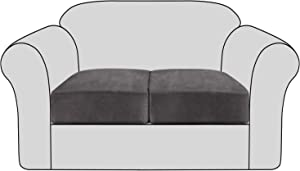Velvet Stretch Couch Cushion Cover Plush Cushion Slipcover for Chair Loveseat Sofa Cushion Furniture Protector Seat Cushion Sofa Cover with Elastic Bottom Washable (2 Packs, Grey)