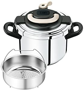 """T-fal pressure cooker""""Kuripuso arch"""" one-touch opening and closing IH corresponding Ivory 6L P4360731"""