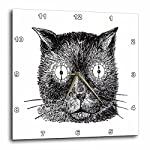 "3dRose Print of Funny Cat Face Drawing Steampunk Style Wall Clock, 13 by 13"" 4"