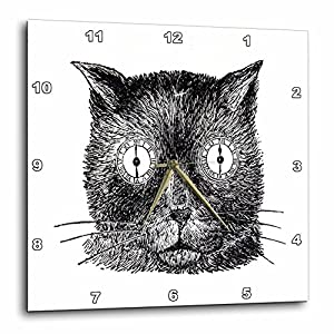 3dRose Print of Funny Cat Face Drawing Steampunk Style Wall Clock, 13 by 13″