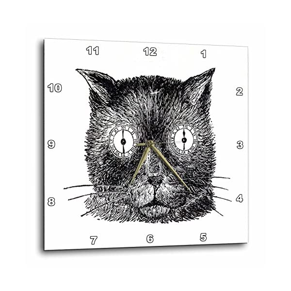 "3dRose Print of Funny Cat Face Drawing Steampunk Style Wall Clock, 13 by 13"" 3"