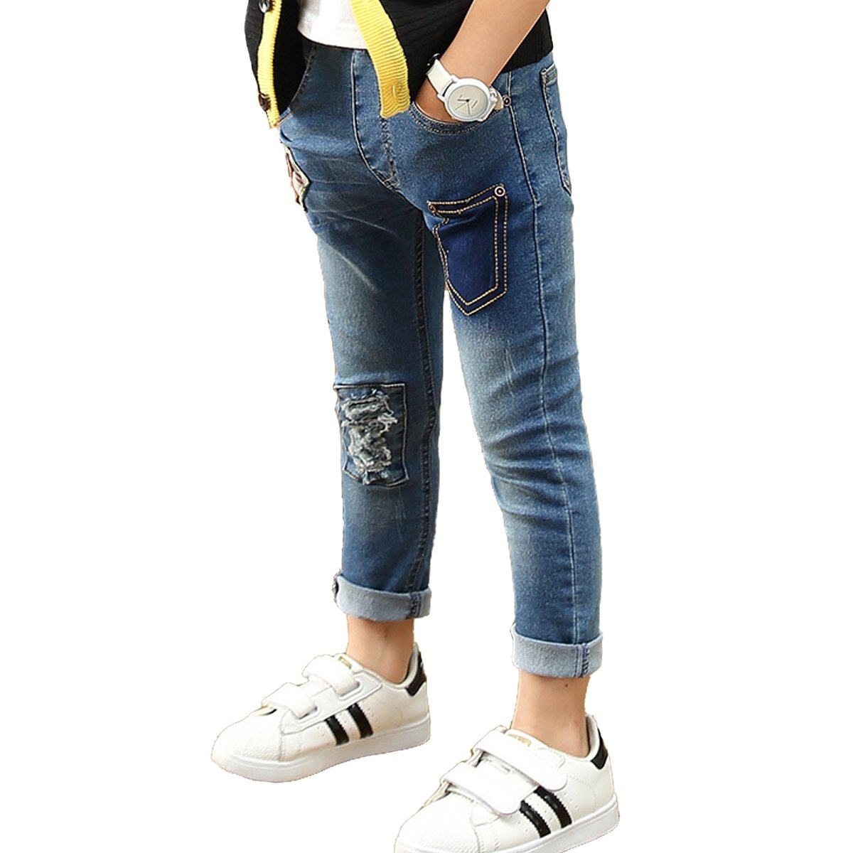 OnlyAngel Boys Slim Fitted Ripped Denim Pants Elasitc Waist Stretch Jeans Age 4-11