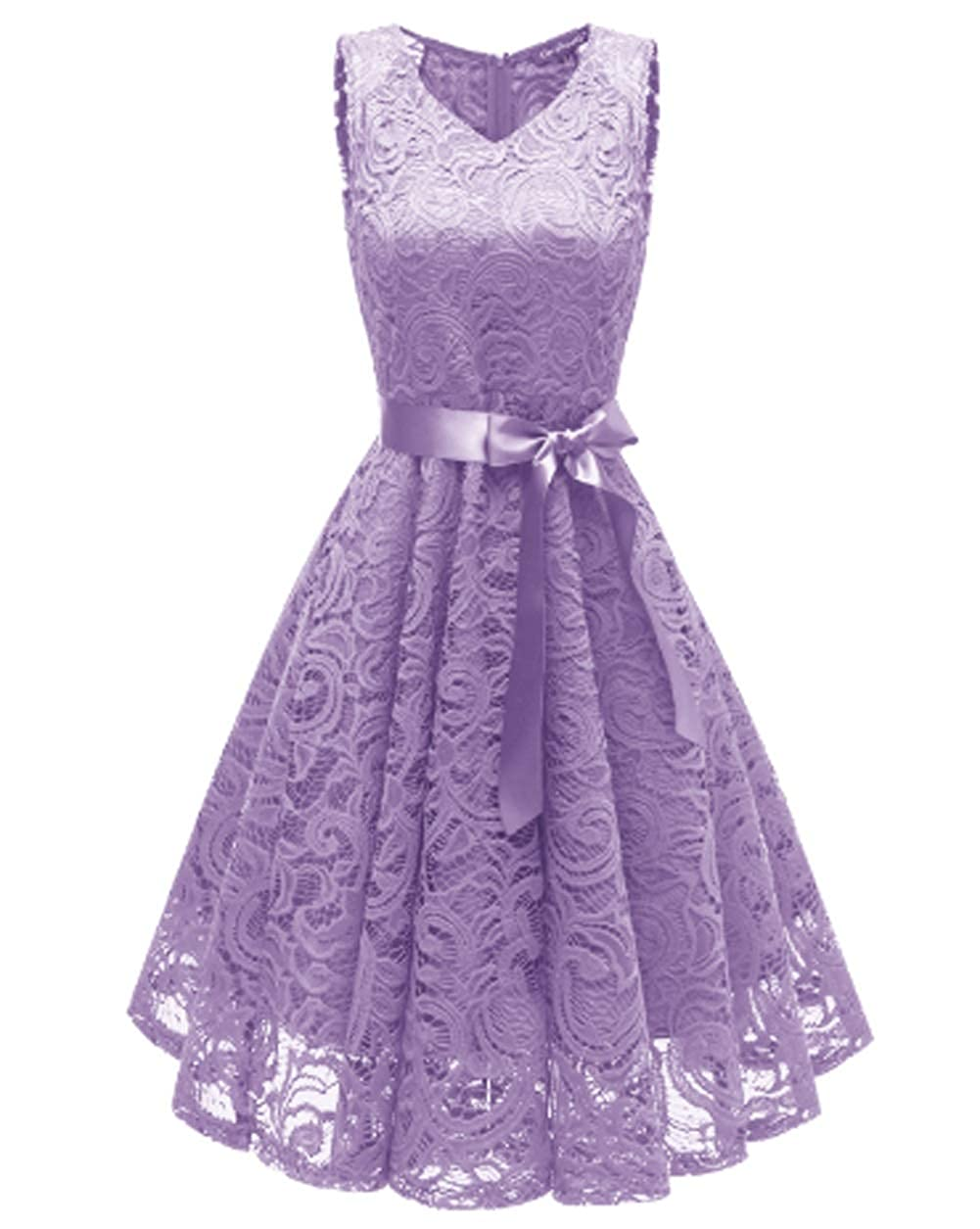 Light Purples Chowsir Women Fashion VNeck 3 4 Sleeve Formal Lace Evening Party Prom Midi Dress