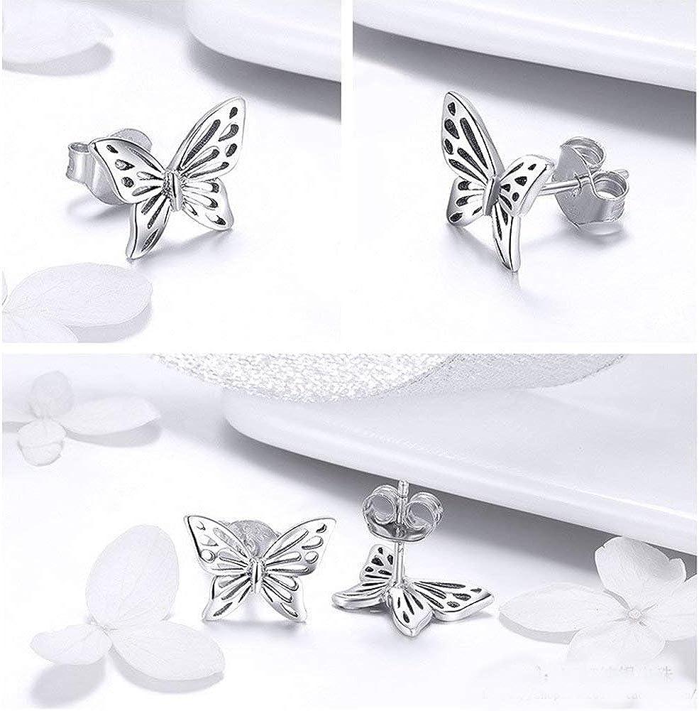 Boucles doreilles vintage en filigrane papillon pour femme adolescente fille en argent sterling S925 petits papillons mignons clous tendance hypoallerg/éniques bijoux cadeaux pour elle