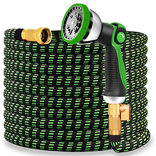 Double Couple Garden Hose 50ft Expandable 10-Way Water Spray Nozzle Watering Hoses for Garden Extra Strength Fabric Flexible Lightweight