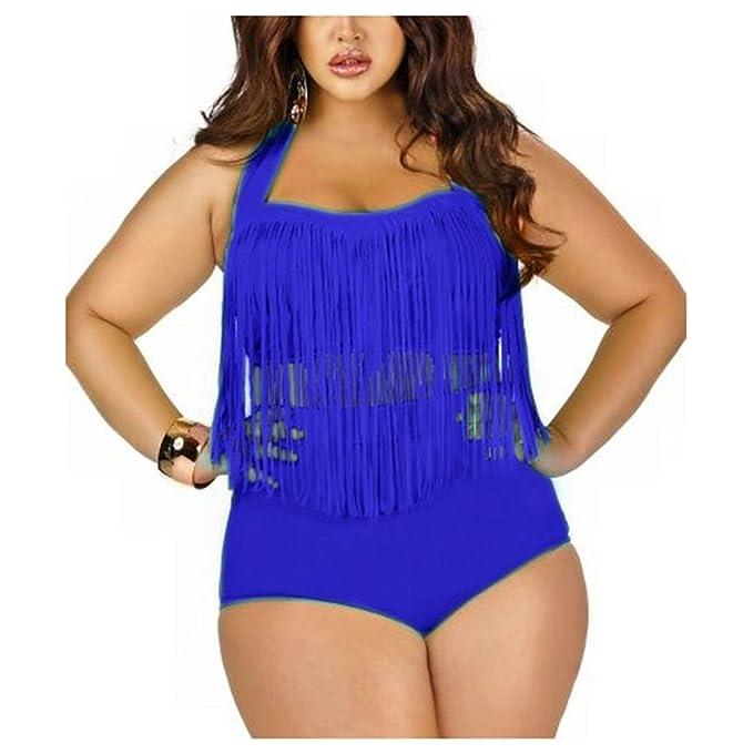Moin Sexy Frauen Plus Size Retro hohe Taille Geflochtene Fringe Top Bikini  Neckholder Bademode Badeanzug Badebekleidung Swimwear EU 40 - EU 46:  Amazon.de: ...