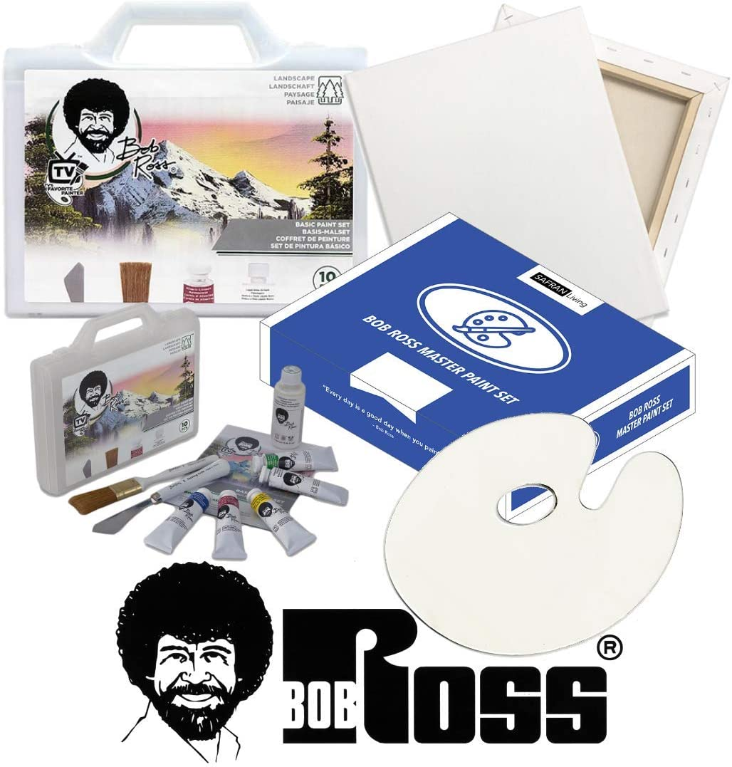 Amazon Com Bob Ross Painting Supplies 13 Piece Basic Master Paint Set The Joy Of Painting Landscape Oil Kit For Beginners With Canvas And Palette Gift Box