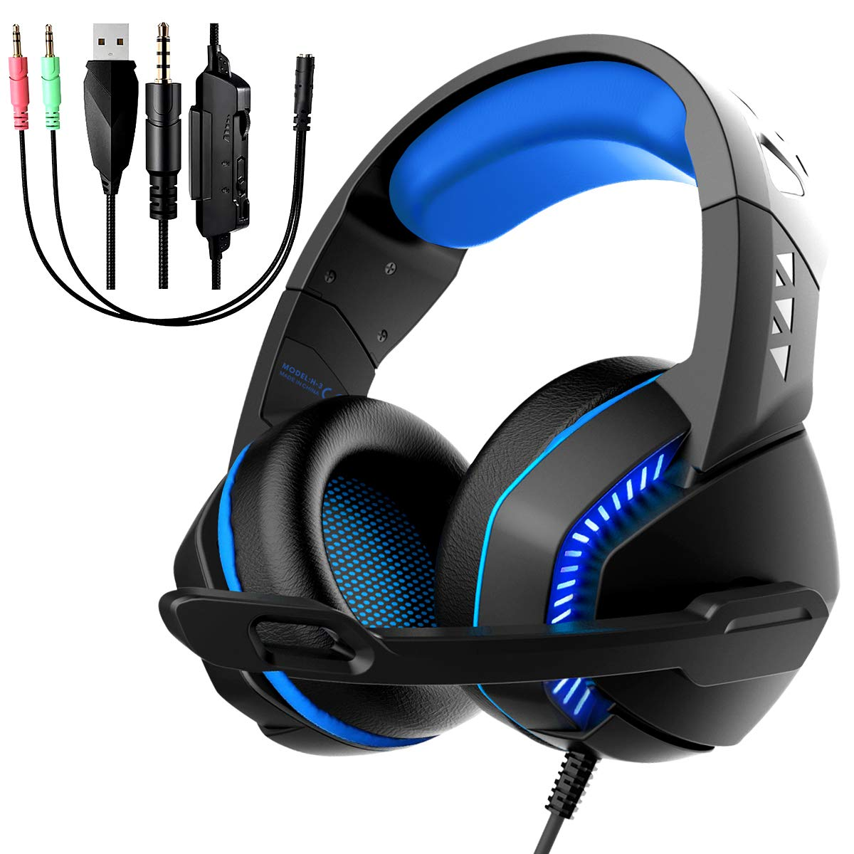 Gaming Headset with Microphone, Noise Reduction Headphone, Over-Ear Bass Surround Sound Stereo Earphone, Volume Control Earmuffs LED Lights for PC Gamers/PS4/Xbox One/Laptop/Playstation (Black Blue)