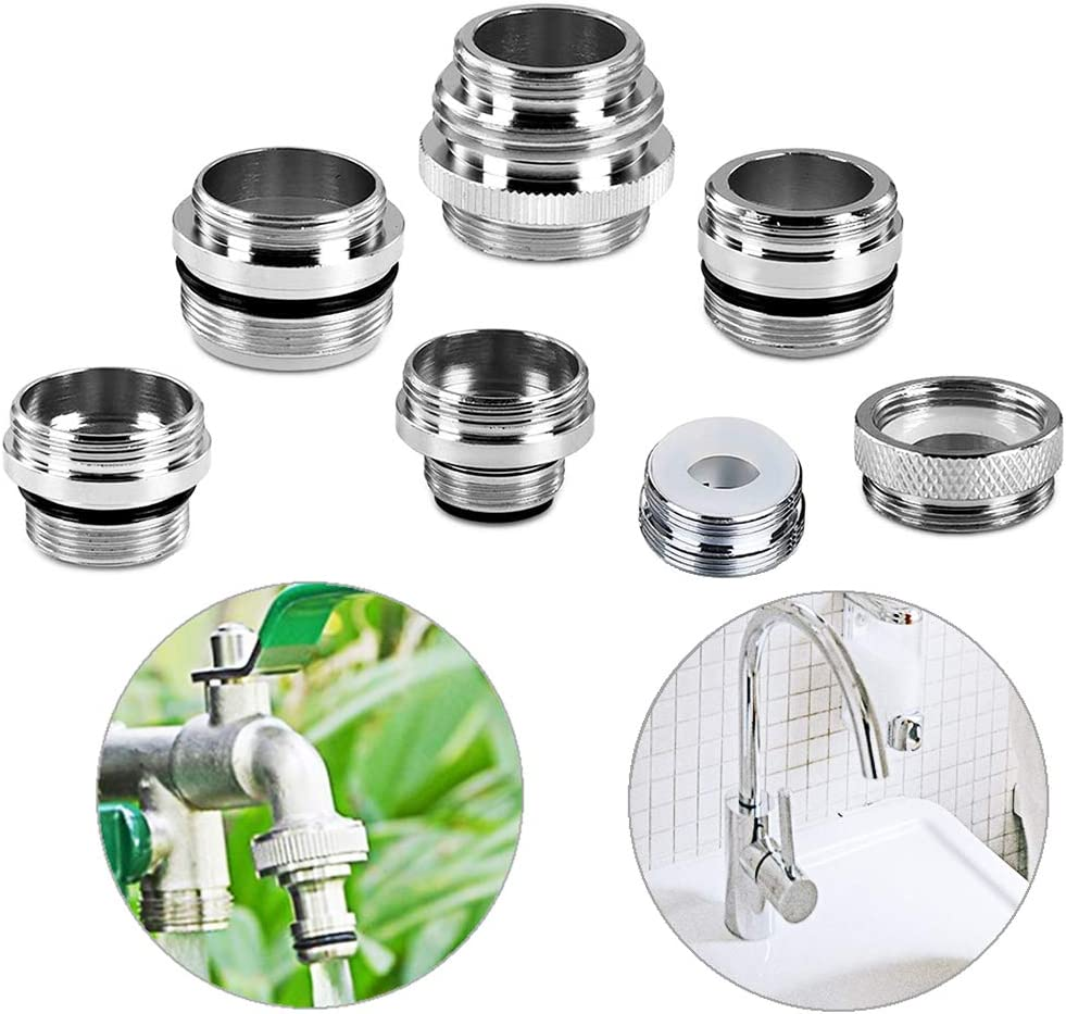 7-Piece Faucet Adapter Kit, Brass Aerator Christmas Adapter Faucet Set to Connect Garden Hose, Water Filter, Standard Hose via Diverter,Male&Female Faucet Adapter for Sink