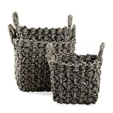 tag - Fisherman Knit Basket, A Perfect Addition to Home Storage, Black (Set of 3)