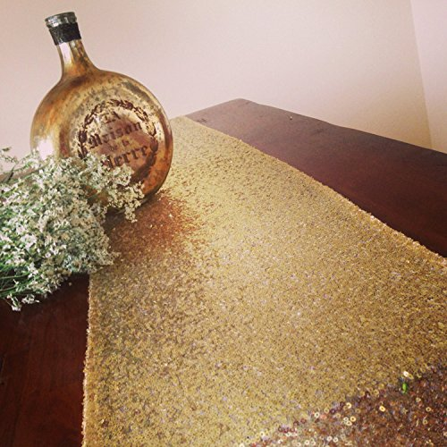 Gold Sequin Aisle Runner, 3FTx15FT Sparkle Aisle Runner, Glitter Aisle Runner by ShinyBeauty