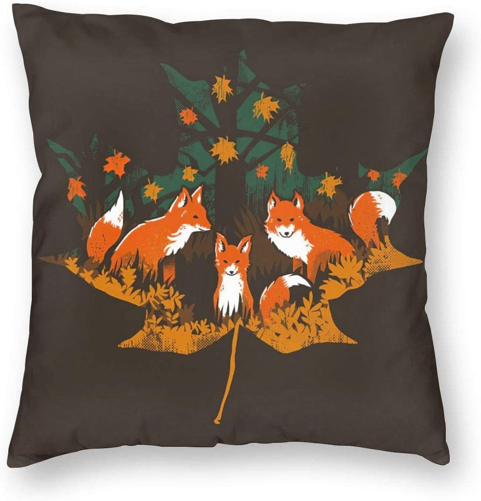 MINIOZE Cute Maple Fox Autumn Fall Thanking Print Plush Soft Square Pillow Covers Home Decor Cushion Covers Decorations Gifts Pillowcase for Indoor Sofa Bedroom Car 18 x 18 Inch