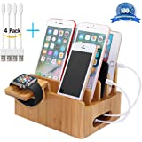 Bamboo Docking Station Organizer for Multiple Devices, Desktop Charging Stations for Apple/Android Phone/iPad (Include Watch Stand and 2 Micro USB and 2 Lightning Cables 8inch) - Pezin & Hulin