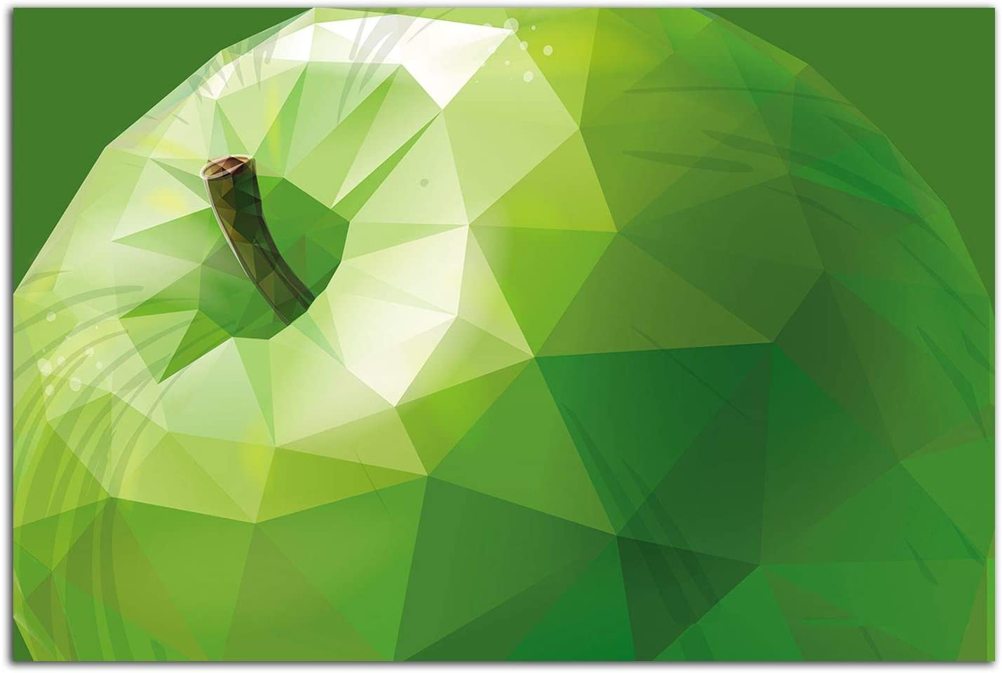 Startonight Glass Wall Art - Stylized Green Apple Decor - Tempered Acrylic Glass Artwork 24 x 36 Inches