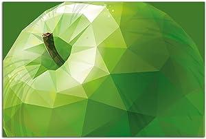 Startonight Glass Wall Art - Stylized Green Apple Decor - Tempered Acrylic Glass Artwork 24 x 36 Inches