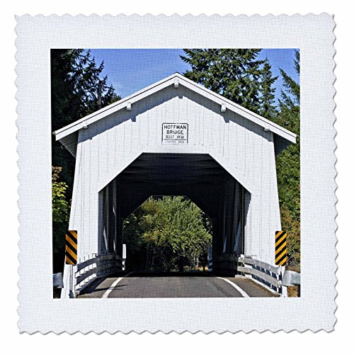 3dRose qs_93889_6 Historic Hoffman Covered Bridge Near Albany Oregon-US38 MGI0042-Mark Gibson-Quilt Square, 16 by 16-Inch (Gibson Custom Historic)