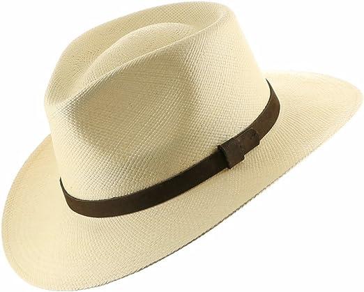 Amazon.com: Hecha a mano. Fedora Panamá Sombrero Paja Mens ...