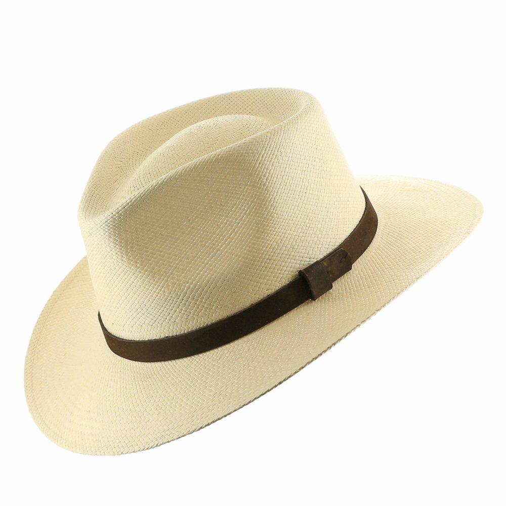 HAND FINISHED Fedora PANAMA HAT STRAW Mens HAVANA Ultrafino 129025