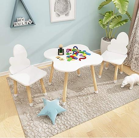 juego de mesa y silla para niños de jardín de Infantes (Blanco) Madera Maciza Aprendizaje de bebé/Escritura/mesas y sillas de Juguete, mesas y sillas de Juegos para el hogar: Amazon.es: Hogar