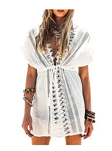 04242fadbc Image Unavailable. Image not available for. Color: NFASHIONSO Women's V  Neck Lace Crochet-Trim Cover up Tunic Beachwear/Beach Dress White