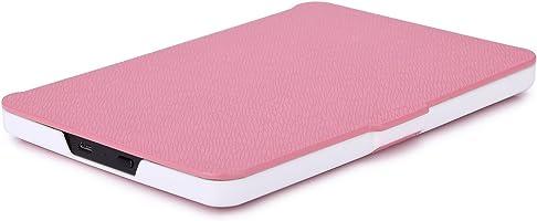 Capa para Kindle Básico da 8a geração - Rígida - Fecho Magnético - Hibernação - Base Branca (rosa)