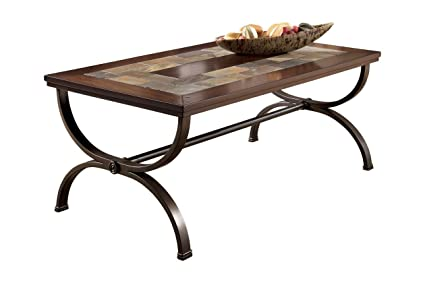 Ashley Furniture Signature Design   Zander Rectangular Cocktail Table    Sturdy Metal Base   Vintage Casual