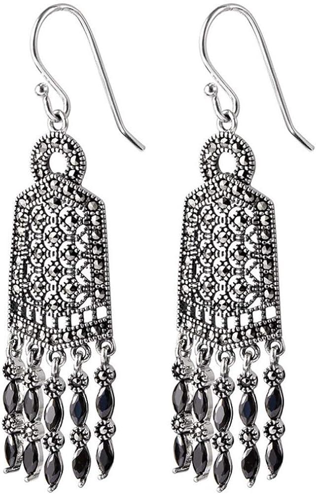 MIYUAN - Pendientes de plata de ley 925 hechos a mano con marcasita negra y ágata larga con borlas retro para mujer