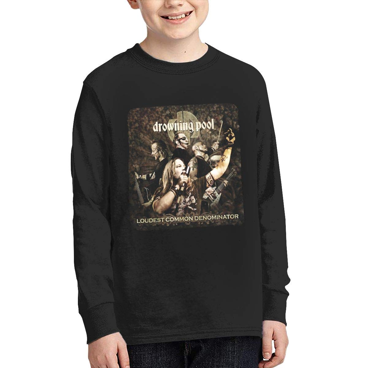 MichaelHazzard Drowning Pool Youth Casual Long Sleeve Crewneck Tee T-Shirt for Boys and Girls