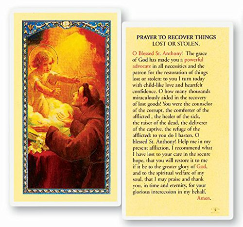 - St. Anthony Lost Object Laminate Card Prayer Card